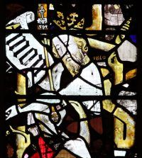 Fig. 7: Detail of AMON, a King of Judah, fragment from a Tree of Jesse scheme now in the east window of the Lady Chapel, Gloucester Cathedral.