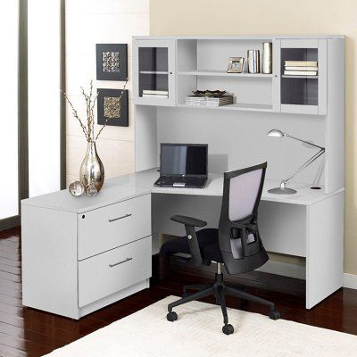 Unique Furniture 100 Collection Corner L-Shaped Desk with Hutch and Lateral File Cabinet White - 1C100001LWH