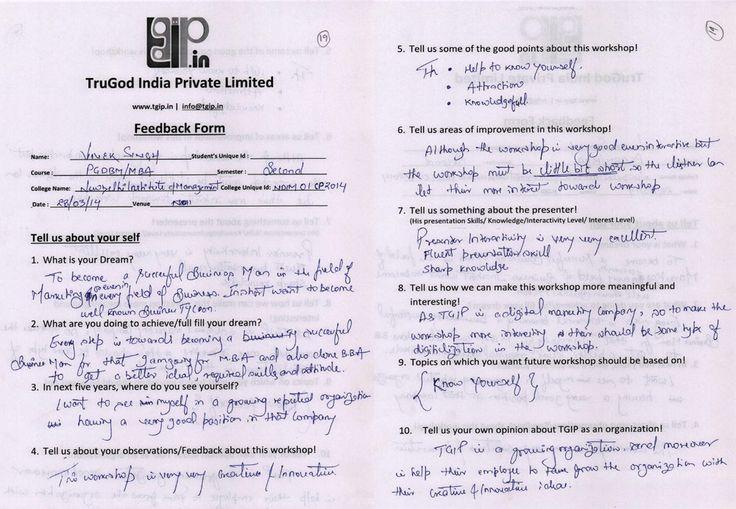 Feedback Forms-NDIM Feedback Forms of u0027New Delhi Institution of - presentation feedback form