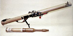 The RPG-29 (NATO designation: Vampir) is a Russian rocket-propelled grenade (RPG) launcher.  The RPG-29's PG-29V tandem-charge warhead is one of the few warhead systems that has penetrated the hulls of Western composite-armored main battle tanks in active combat.