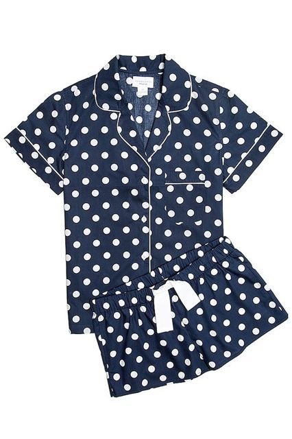 Navy and white are always a classic. Polka dots, too.Three J NYC Betty, $114, available at Three J NYC.  #refinery29 http://www.refinery29.com/best-pajamas#slide-12