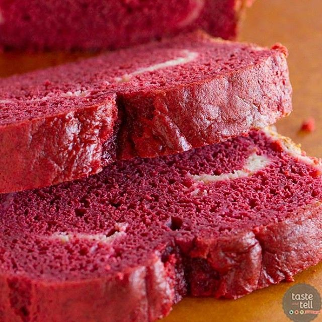 Football, schmootball. All I want is a slice of this Red Velvet Quick Bread with Cream Cheese Filling! #RedVelvetWeek2015 starts today on tasteandtellblog.com!