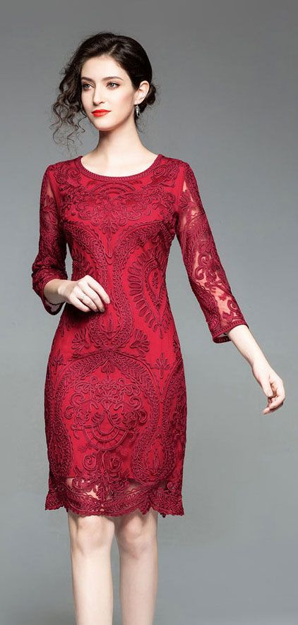 ea5a5f1c0dc robe mère de la mariée pas cher bordeaux rouge à manche 2019  robecocktail   robepourmariage