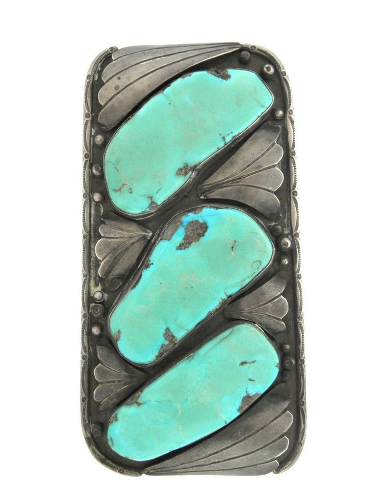 Vintage Old Pawn Sterling Silver Turquoise Massive Wide Bracelet Cuff