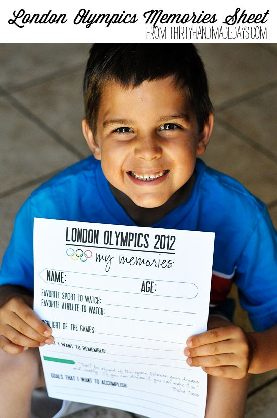 London Olympics Memories sheet- have your kids record their favorite things from the Olympics.