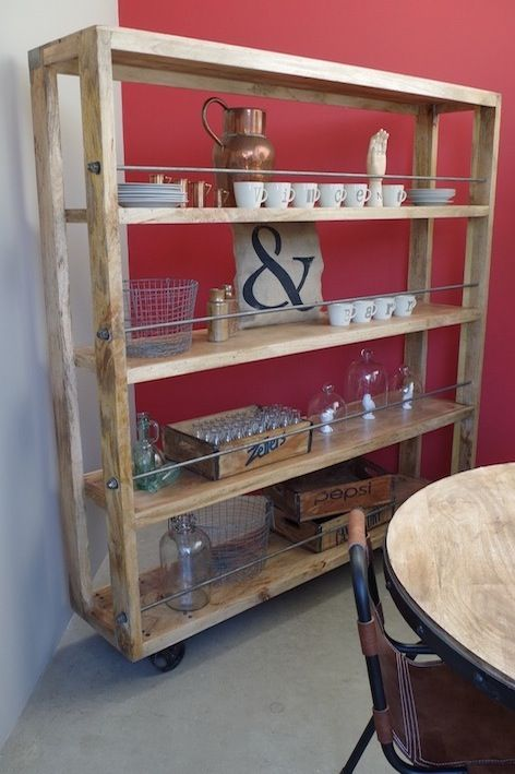 Large Industrial Bookcase On Wheels, £795.00