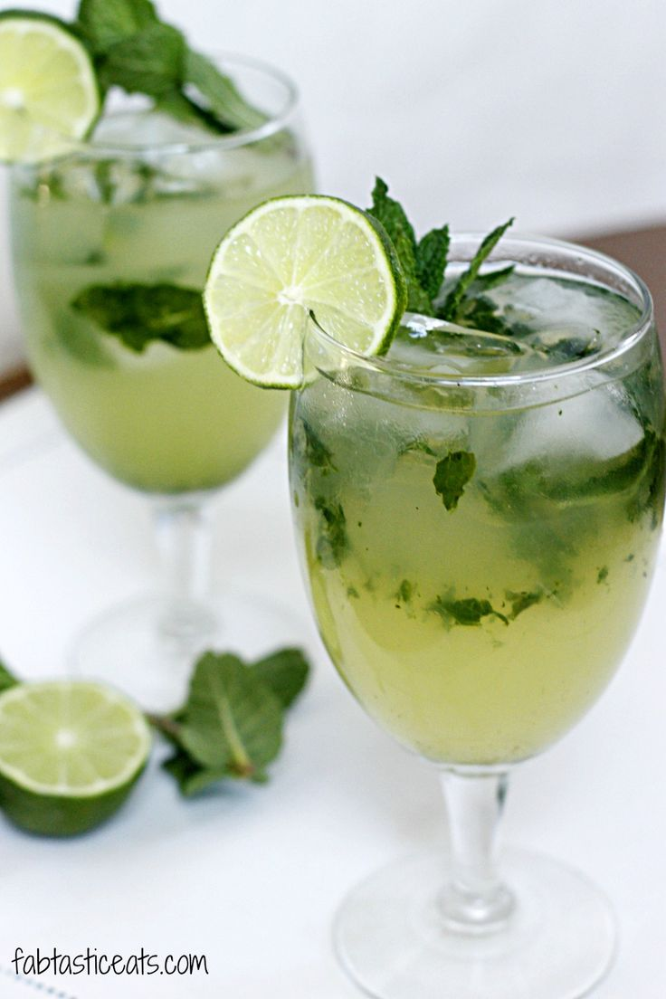 Ginger Beer Mojito (20 mint leaves  3 ounces silver rum 8 ounces ginger beer 3 ounces freshly squeezed lime juice) #Drank