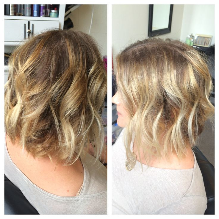 Sombre Blonde Highlights With Textured Angled Bob Sombre Angledbob Texture Short Hair Don T