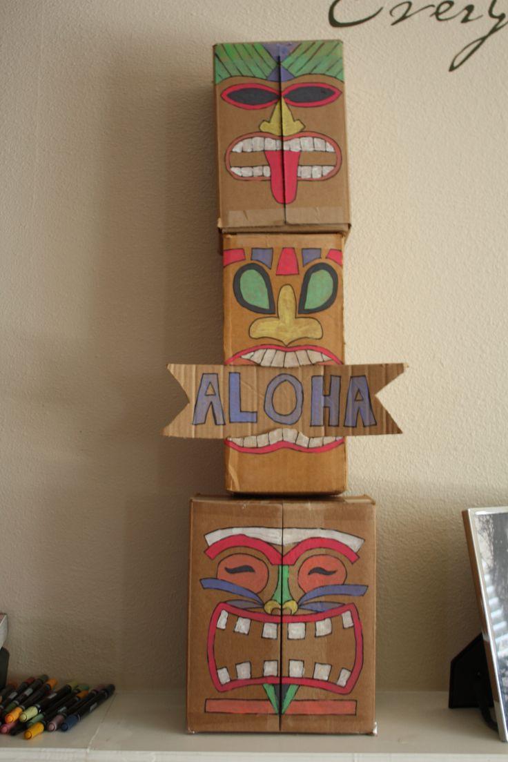 Cardboard box tiki totem pole for a Luau!                                                                                                                                                                                 More