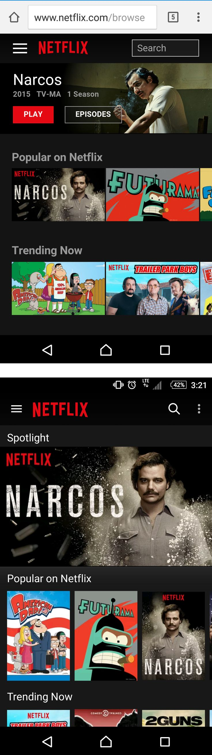 Netflix's mobile app and native app are very similar, the only real difference is the search bar and the orientation of the tiles. The biggest difference interaction wise is that you can swipe from the left to open the sidebar on the native app.