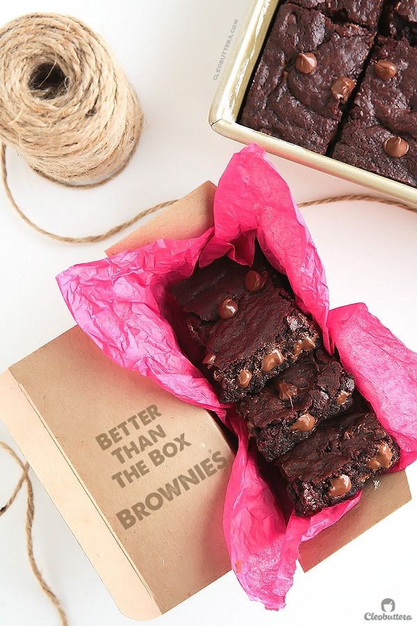 Some of the chewiest, fudgiest and most chocolatey brownies you'll ever taste.  So quick and easy too!