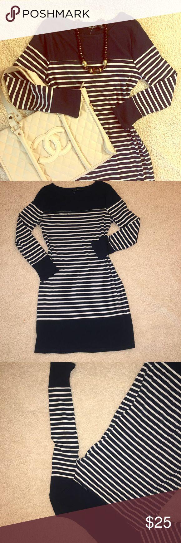 Classic Nautical Stripe Dress NWT Blue & white. Cotton & Spandex. Style & Co Dresses Long Sleeve