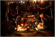 Egyptians gathered Friday in Tahrir Square in Cairo at a makeshift memorial for those killed during the protests.