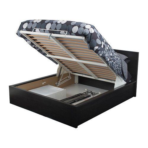 IKEA - MALM, Cadre lit coffre, brun noir, 140x200 cm, , Sommier à lattes pouvant être soulevé pour accéder à un espace de rangement.Le placage en bois assurera une belle patine de la structure de lit.