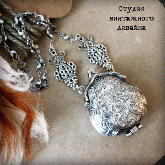 """Купить Ожерелье-цепочка с медальоном """"Арома-кошель"""" - серебряный, кошель, винтаж, цепочка с кулоном"""