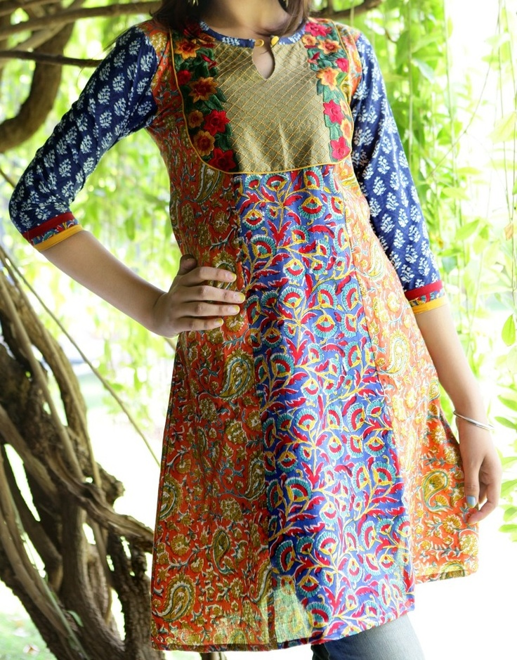 kurti cotton fabric rust_and_blue_color_with_embroidery_lace_v-neck_for_traditional_wear