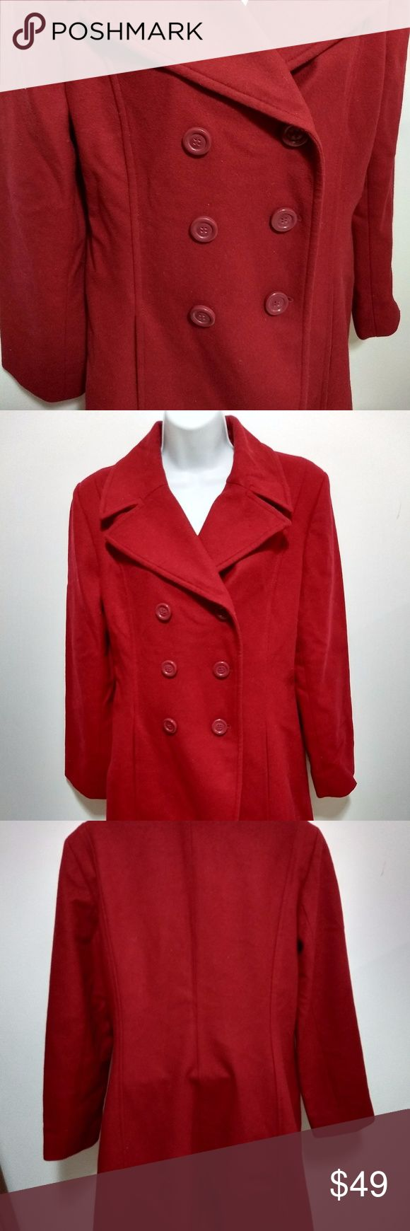 Vintage Harve Benard long red pea coat Harve Benard by Benard Holtzman long red double breasted pea coat. Vintage.   No size tag but I'm guessing it's a medium.   In storage for a long time but in great condition. Harve Benard Jackets & Coats Pea Coats