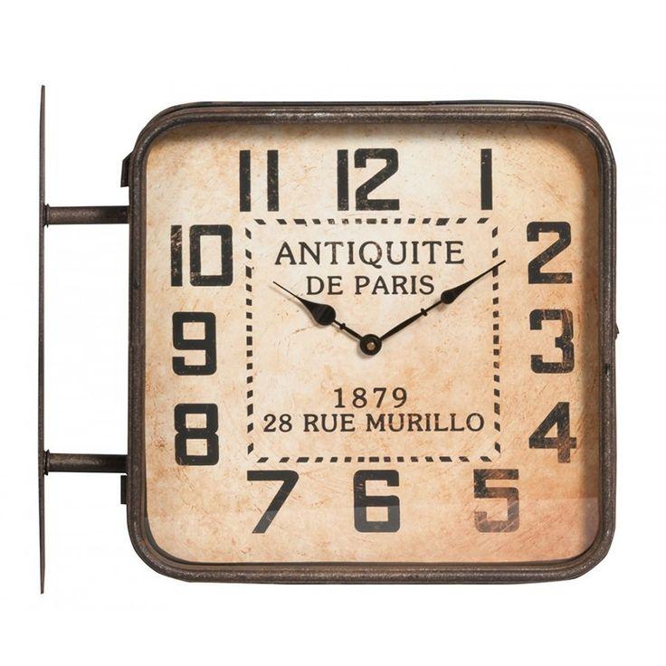 Oryginalny dwustronny zegar dworcowy w stylu francuskim marki belldeco. Z jednej strony w jasnym kolorze, .zaś druga strona w ciemnym.