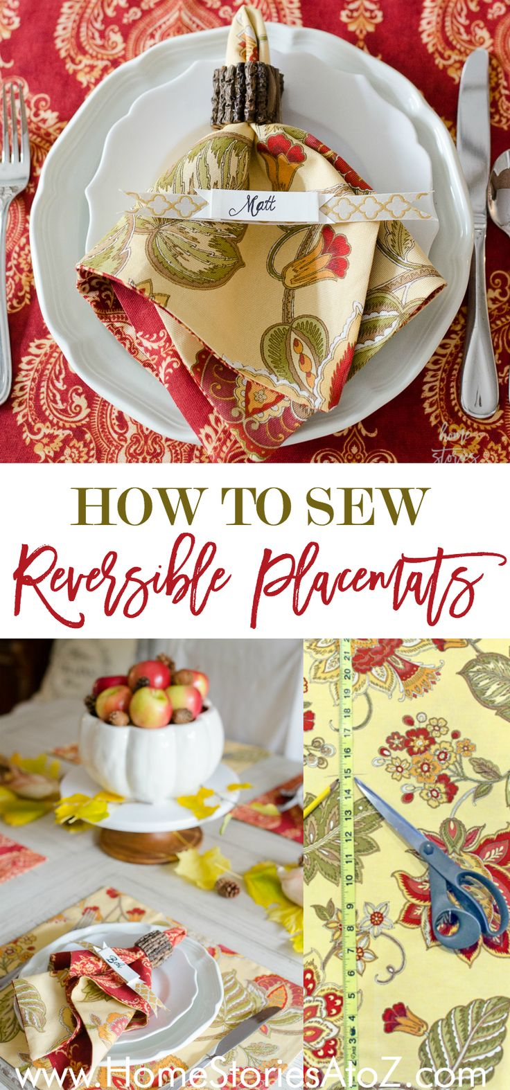 This easy placemat tutorial shows step-by-step how to sew reversible placemats. Great for holiday table or as a special DIY gift!  ad Waverly Inspirations
