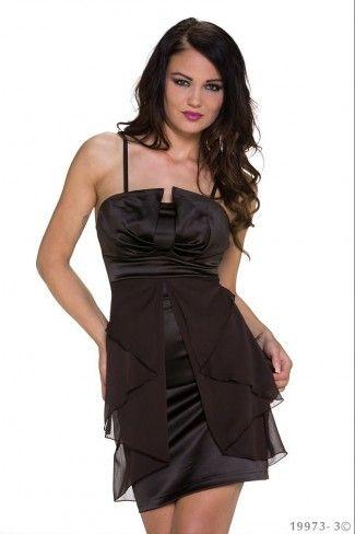 Σατέν φόρεμα με τιράντες - Σκούρο Καφέ