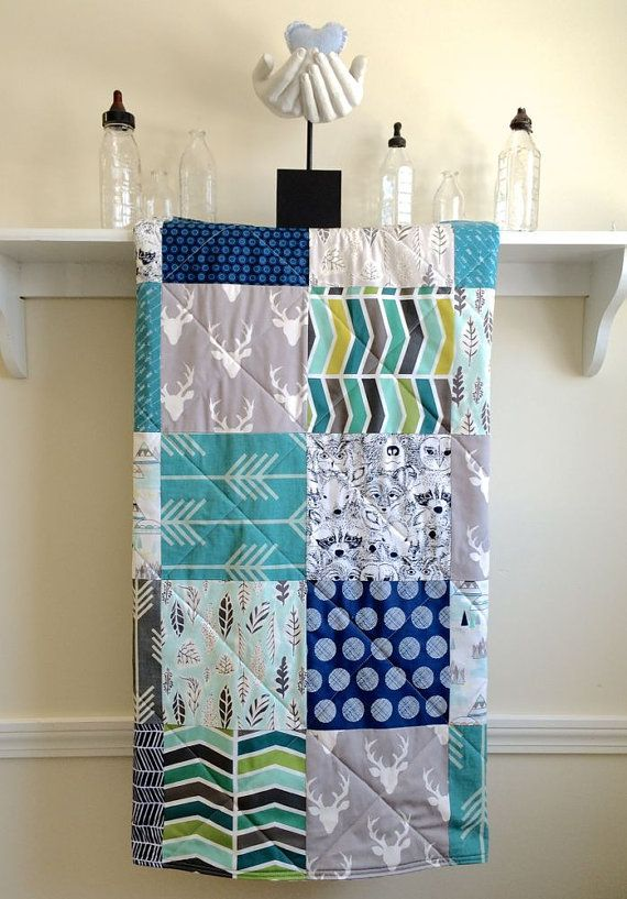 Hey, I found this really awesome Etsy listing at https://www.etsy.com/listing/223878017/baby-quilt-buck-forest-teal-modern-baby