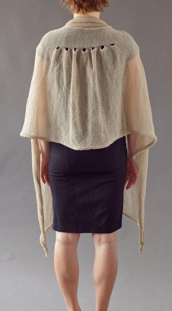 Knitting pattern - machine knitting - softest elegant shawl with collar by Gala Golansky