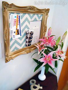 decorative cork board conceals intercom @ BandBBuildALife.com