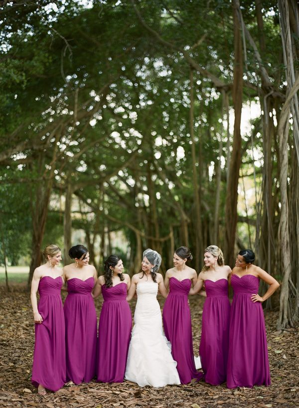 Strapless punch-colored dresses. By Justin deMutiis Photography