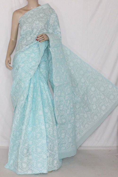Sky Blue Hand Embroidered Allover Tepchi Work Lucknowi Chikankari Saree (With Blouse - Cotton) 14358