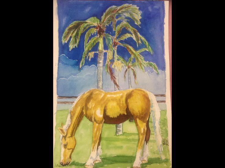 "Horse - ""Kalua in my front yard "" Watercolour"