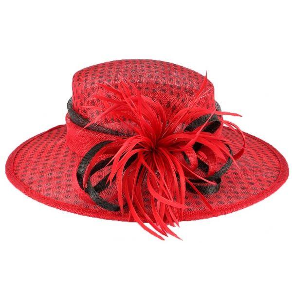 Chapeau mariage rouge à pois noir Claridge #chapeaumariage #mariage #chic #mode #fahion #bonplan #startup
