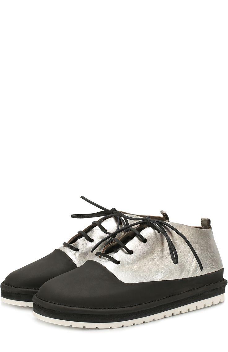 Мужские черные ботинки из металлизированной кожи с резиновым мысом Marsell, арт. MMG122/H0RSE купить в ЦУМ   Фото №1