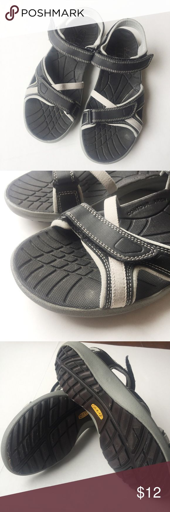 Keen Grey and Black Velcro Sandals size 9 Keen grey and black Velcro sandals with contour arch. Some fading but in good pre owned condition. Women's size 9 or men's size 7 Keen Shoes Sandals