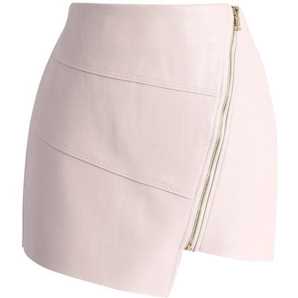 Chicwish Make it Cool Faux Leather Mini Skirt ($45) ❤ liked on Polyvore featuring skirts, mini skirts, pink, light pink skirt, zipper skirt, vegan leather skirt, asymmetrical short skirt and asymmetrical mini skirt