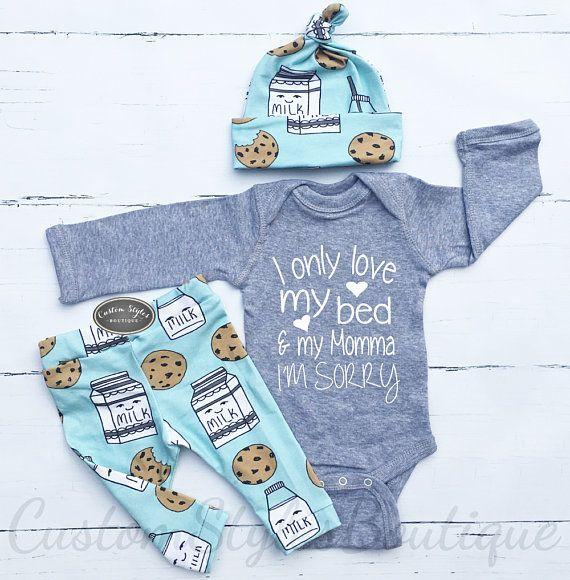 Bébé garçon venant à la maison tenue, lait et biscuits, Leggings Teal Et Chapeau, bébé garçon venant à la maison, bébé garçon, tenue de l'hôpital, Body gris   – ~ Baby ~