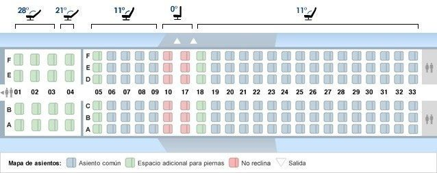 Boeing 737-800 B - Mapa de asientos