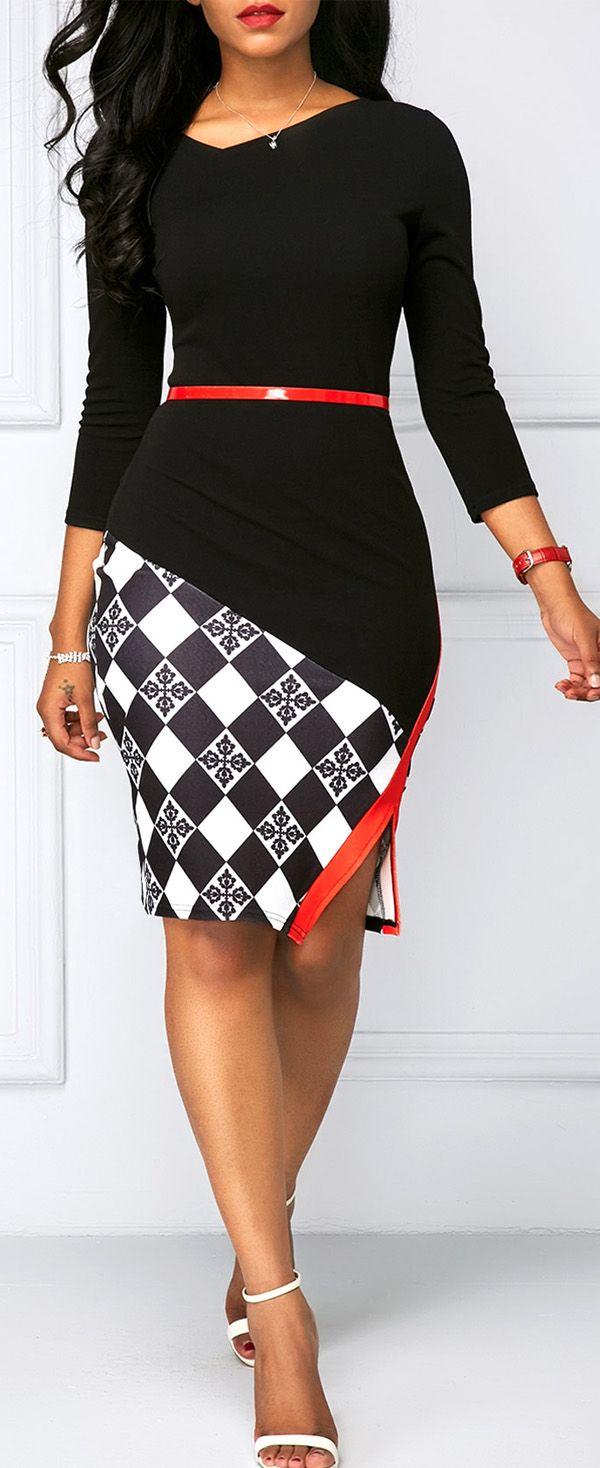 Black Side Slit Printed Sheath Dress