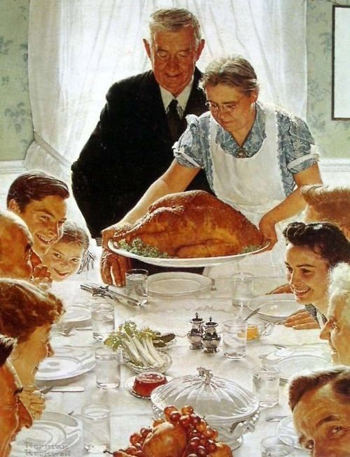 Norman Rockwell. This painting. I love it. But come on that turkey has to be like 20lbs. Not to mention that platter is probably ceramic. There is no way that little granny can hold that.