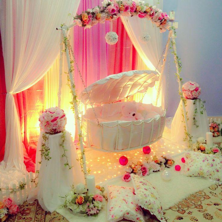 Pelamin buaian berendoi, cukur jambul, pakej aqiqah, mermaid theme  Cengkerang Cradle (www.alisdeco.blogspot.com) Alis:0123550657