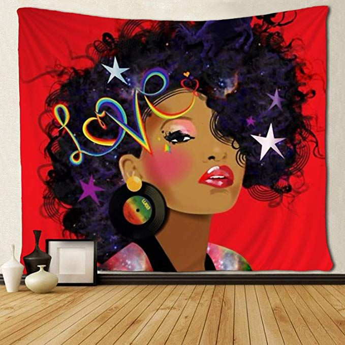 Amazon Com Sara Nell Tapestry African American Women Art Tapestries Wall Art Hippie Bedroom Living Tapestry Wall Art African American Art Women Wall Tapestry