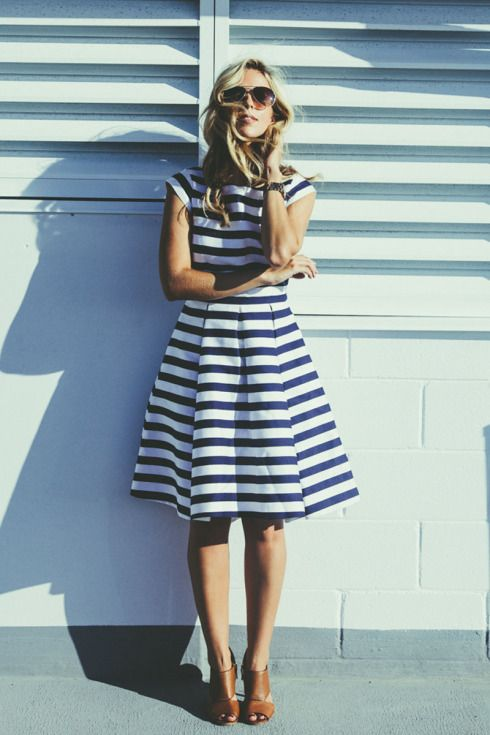 Blue and white striped fit and are dress and tan heeled sandals