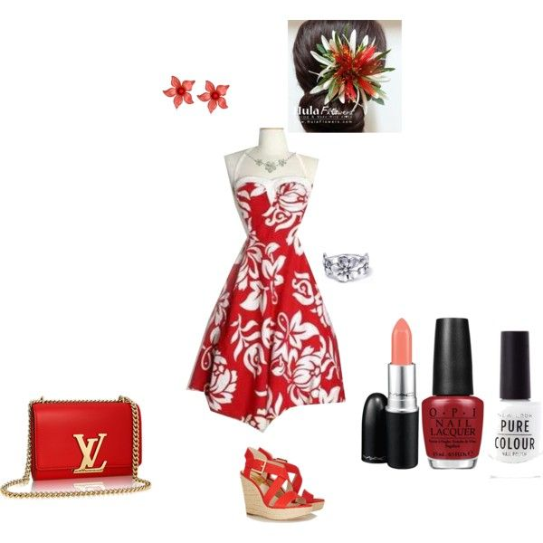 Hawaiian Themed Outfit by sarah-jablonski on Polyvore featuring MICHAEL Michael Kors, Bling Jewelry, Tarina Tarantino, MAC Cosmetics and OPI