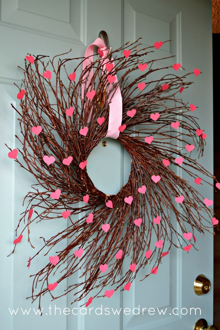 Easy Valentine's Day Heart Willow Wreath using scrapbook paper and a wooden wreath