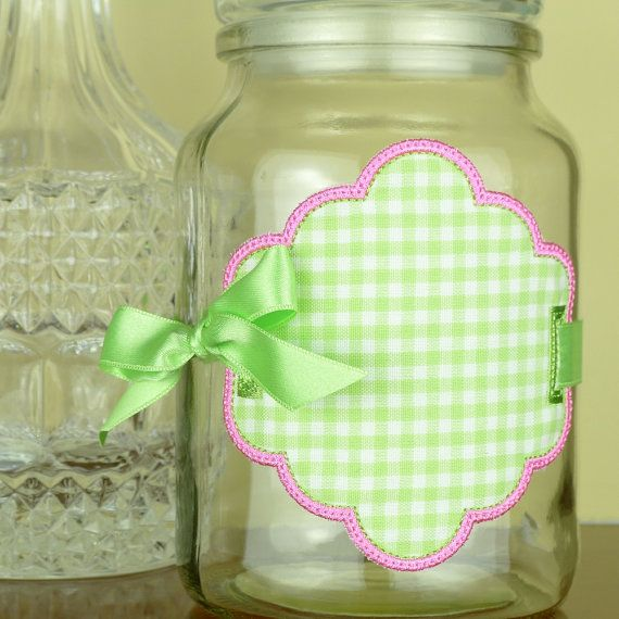 """Jar Label In The Hoop Project Machine Embroidery Design Applique Patterns all done In-The-Hoop 4 sizes 3"""", 4"""", 5"""" and 6"""""""
