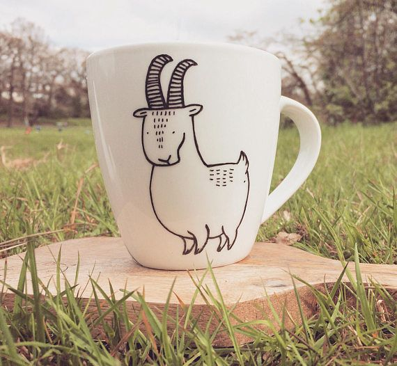 European Mountain Goat Mug  hand painted illustrated quirky