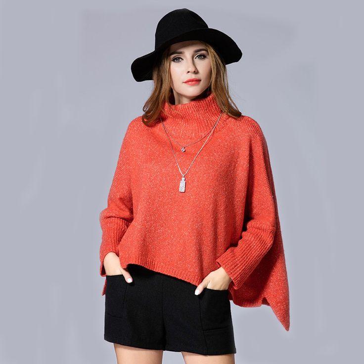Charlee Cooper Orange Turtle Neck Batwing Sleeve Asymmetrical Short Sweater