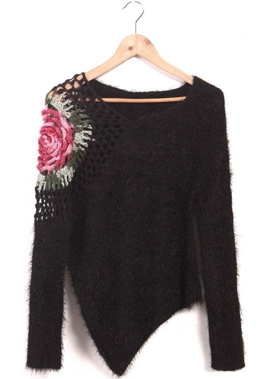 Black Long Sleeve Flower Pattern Hollow Sweater