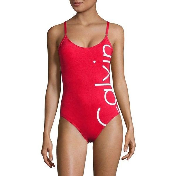 Calvin Klein Logo One-Piece Swimsuit (230.565 COP) ❤ liked on Polyvore featuring swimwear, one-piece swimsuits, red, swim wear, one-piece swimwear, calvin klein bathing suits, calvin klein and one piece swim wear