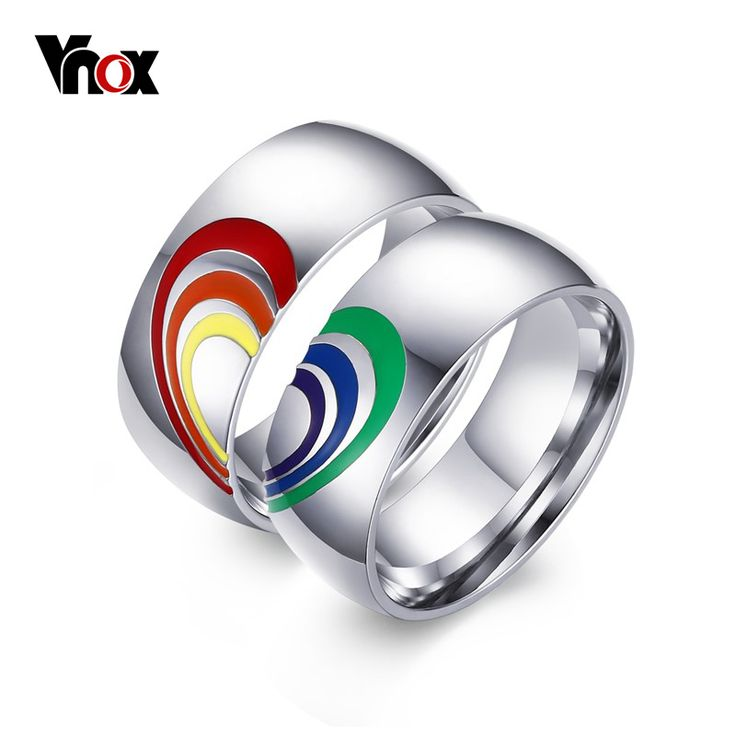 from Roman 14kt gold gay pride rings