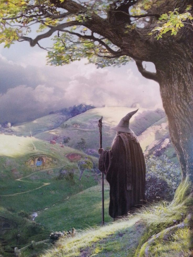 Gandalf over looking Hobbiton. I know I've already pinned this multiple times but I love love love this painting and I want everyone to see it  ♡